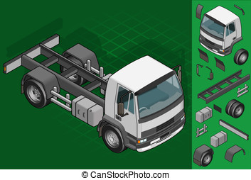isometric truck solo driving - Detailed illustration of a...