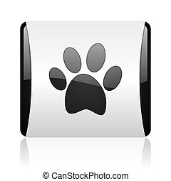 animal footprint black and white square web glossy icon