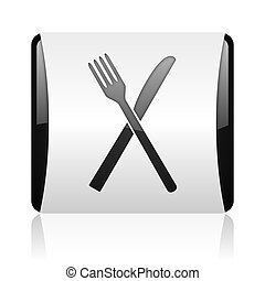 food black and white square web glossy icon