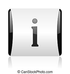 information black and white square web glossy icon