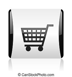 shopping cart black and white square web glossy icon