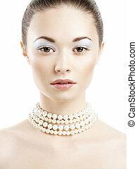 Beautiful woman face Perfect Makeup Beauty fashion