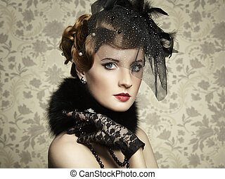 Retro portrait of beautiful woman Vintage style Fashion...