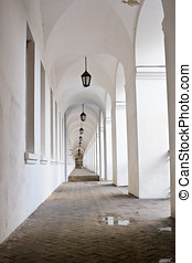 colonnade passage perspective and lamps