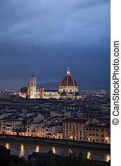Duomo Cathedral Church, Florence, Italy, Illumniated at...