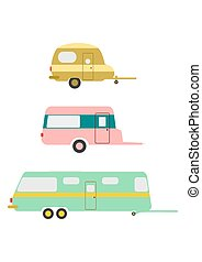 Caravan - Retro caravans on a white background
