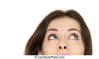 Beautiful thinking teenager girl looking up Closeup portrait...