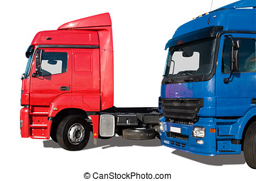 Two trucks - Two commercial trucks isolated over white...