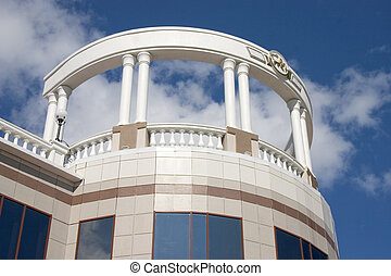 Balcony with white columns. - Balcony with white columns on...