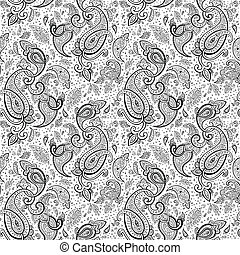 Hand Drawn Paisley ornament - Seamless Paisley background...