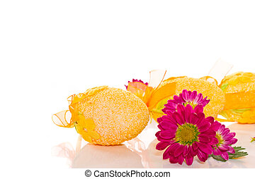 Decorative Easter eggs with flowers