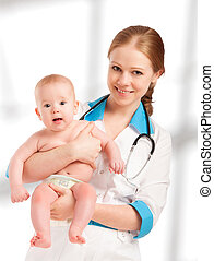 Pediatrician woman doctor holding patient baby