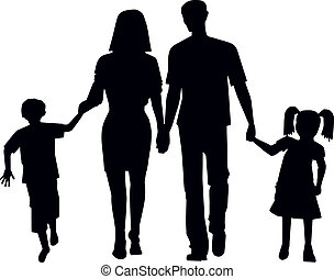family for a walk in the collection vector illustration