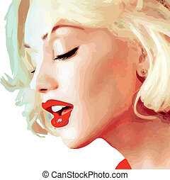 blond portrait of a girl vector