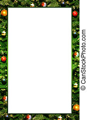 christmas frame - green pine wit decorations christmas frame