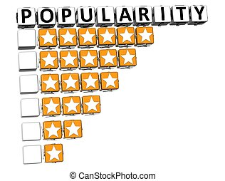3D Popularity Button Click Here Block Text