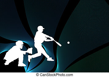 Baseball illustration with players over black with lines