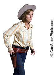 The gunfighter - Beautiful lady posed as a western cowgirl...