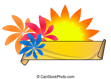 Sumer Banner - Summer banner with colored flowers an curled...