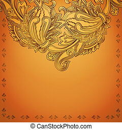 Indian henna background - Vintage invitation card with...