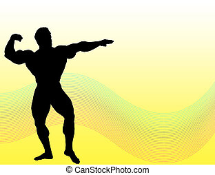 Body Building - Body builder silhouette over yellow...