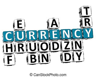 3D Different Currency Crossword on white background
