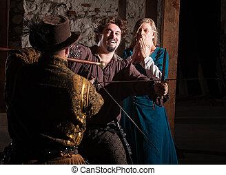 Medieval Hero Swordfighting - Laughing bearded sword fighter...