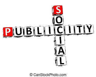 null - 3D Social Publicity Crossword on white background