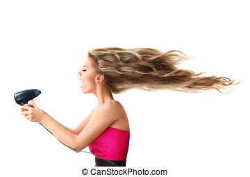 Woman drying long hair with electric fan - Young blonde...