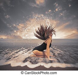 Dancer in the sea with drop and splash effect