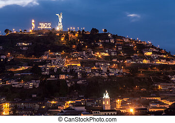 Quito Ecuador Hill - View of houses and bicentennial...