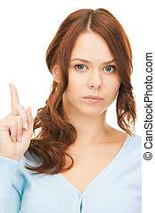 woman with finger up - picture of attractive young woman...