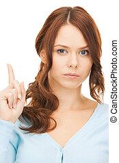 mujer, dedo, Arriba