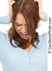 mad woman screaming holding her head with hands