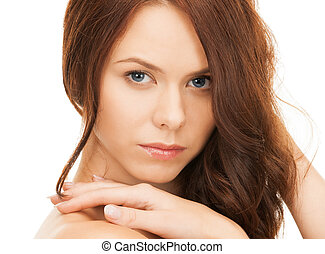beautiful woman with long hair - face and hands of beautiful...