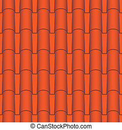Roof tile seamless - Red roof tiles seamless. Vector texture