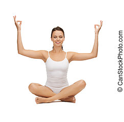 young woman doing exercises, yoga, pilates - picture of...