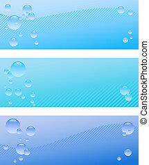 Air bubble banner set - A set of three blue banner with...