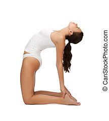 woman in cotton underwear doing exercises - sporty woman in...
