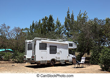 European Motorhome on a camping in Portugal