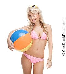 beautiful woman in bikini with beach ball - bright picture...