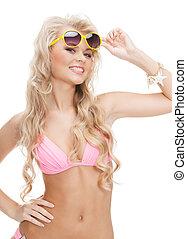 beautiful woman in bikini with sunglasses
