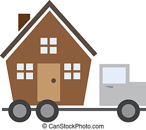 House On Truck - Isolated house on a moving truck