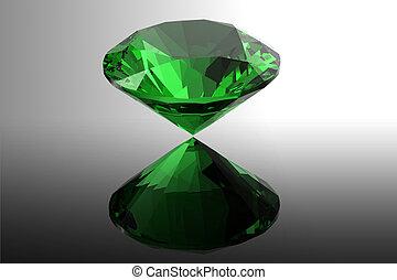emerald. Jewelry gems roung shape on black background