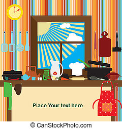 cuisine, carte, vecteur, Illustration
