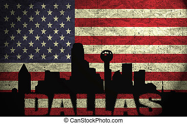 View of Dallas City on the Grunge American Flag