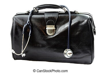Doctors bag with stethoscope isolated on white background