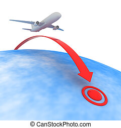 Point of destination - Airplane flying to the point of...