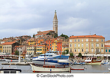 Rovinj city with port and tower landmark