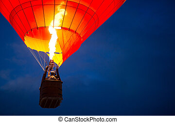 Aerostat at night - Air balloon in the evening sky